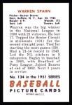 1951 Bowman REPRINT #134  Warren Spahn  Back Thumbnail