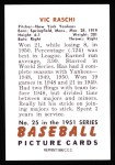 1951 Bowman REPRINT #25  Vic Raschi  Back Thumbnail