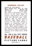 1951 Bowman REPRINT #100  Sherm Lollar  Back Thumbnail