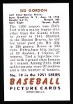 1951 Bowman REPRINT #19  Sid Gordon  Back Thumbnail