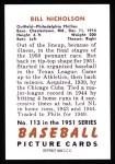 1951 Bowman REPRINT #113  Swish Nicholson  Back Thumbnail