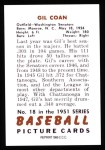 1951 Bowman REPRINT #18  Gil Coan  Back Thumbnail