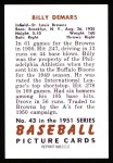 1951 Bowman REPRINT #43  Billy DeMars  Back Thumbnail