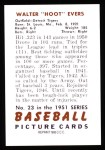 1951 Bowman REPRINT #23  Hoot Evers  Back Thumbnail
