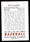 1951 Bowman REPRINT #255  Milo Candini  Back Thumbnail