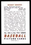 1951 Bowman REPRINT #205  Mickey Grasso  Back Thumbnail