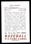 1951 Bowman REPRINT #53  Bob Lemon  Back Thumbnail