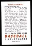 1951 Bowman REPRINT #91  Clyde Vollmer  Back Thumbnail