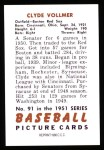 1951 Bowman REPRINT #91  Clyde Vollmer  Back Thumbnail