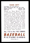 1951 Bowman REPRINT #173  Hank Arft  Back Thumbnail