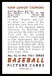 1951 Bowman REPRINT #92  Junior Stephens  Back Thumbnail