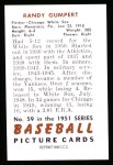 1951 Bowman REPRINT #59  Randy Gumpert  Back Thumbnail