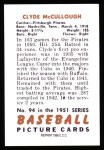 1951 Bowman REPRINT #94  Clyde McCullough  Back Thumbnail