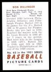 1951 Bowman REPRINT #63  Bob Dillinger  Back Thumbnail