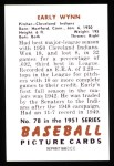 1951 Bowman REPRINT #78  Early Wynn  Back Thumbnail