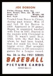 1951 Bowman REPRINT #36  Joe Dobson  Back Thumbnail