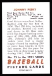 1951 Bowman REPRINT #15  Johnny Pesky  Back Thumbnail