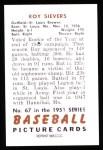 1951 Bowman REPRINT #67  Roy Sievers  Back Thumbnail
