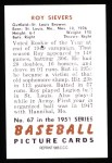 1951 Bowman REPRINT #67  Roy Sievers  Back Thumbnail
