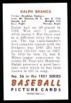 1951 Bowman REPRINT #56  Ralph Branca  Back Thumbnail