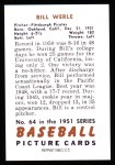 1951 Bowman REPRINT #64  Bill Werle  Back Thumbnail