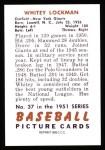1951 Bowman REPRINT #37  Whitey Lockman  Back Thumbnail