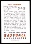 1951 Bowman REPRINT #70  Ron Northey  Back Thumbnail