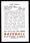 1951 Bowman REPRINT #214  Bob Swift  Back Thumbnail