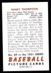 1951 Bowman REPRINT #89  Harry Thompson  Back Thumbnail