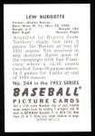 1952 Bowman REPRINT #244  Lew Burdette  Back Thumbnail