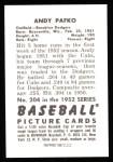 1952 Bowman REPRINT #204  Andy Pafko  Back Thumbnail