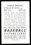 1952 Bowman REPRINT #188  Chuck Dressen  Back Thumbnail