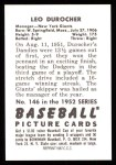 1952 Bowman REPRINT #146  Leo Durocher  Back Thumbnail