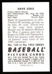 1952 Bowman REPRINT #132  Dave Cole  Back Thumbnail