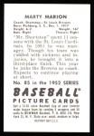 1952 Bowman REPRINT #85  Marty Marion  Back Thumbnail