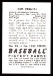 1952 Bowman REPRINT #82  Gus Zernial  Back Thumbnail