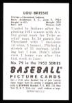 1952 Bowman REPRINT #79  Lou Brissie  Back Thumbnail