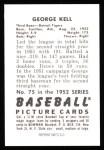 1952 Bowman REPRINT #75  George Kell  Back Thumbnail