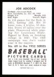 1952 Bowman REPRINT #69  Joe Adcock  Back Thumbnail