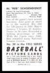 1952 Bowman REPRINT #30  Red Schoendienst  Back Thumbnail