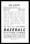 1952 Bowman REPRINT #29  Ned Garver  Back Thumbnail