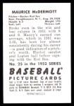 1952 Bowman REPRINT #25  Mickey McDermott  Back Thumbnail