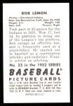 1952 Bowman REPRINT #23  Bob Lemon  Back Thumbnail
