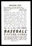 1952 Bowman REPRINT #21  Nellie Fox  Back Thumbnail