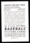 1952 Bowman REPRINT #8  Pee Wee Reese  Back Thumbnail