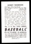 1952 Bowman REPRINT #2  Bobby Thompson  Back Thumbnail