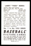 1952 Bowman REPRINT #1  Yogi Berra  Back Thumbnail