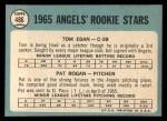 1965 Topps #486   -  Tom Egan / Pat Rogan Angels Rookies Back Thumbnail