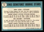 1965 Topps #181   -  Don Loun / Joe McCabe Senators Rookies Back Thumbnail