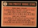 1966 Topps #123   -  Frank Bork / Jerry May Pirates Rookies Back Thumbnail